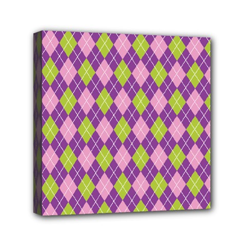 Plaid Triangle Line Wave Chevron Green Purple Grey Beauty Argyle Mini Canvas 6  X 6