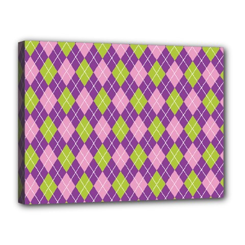 Plaid Triangle Line Wave Chevron Green Purple Grey Beauty Argyle Canvas 16  X 12
