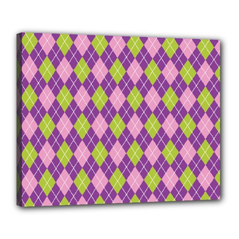 Plaid Triangle Line Wave Chevron Green Purple Grey Beauty Argyle Canvas 20  X 16