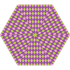 Plaid Triangle Line Wave Chevron Green Purple Grey Beauty Argyle Mini Folding Umbrellas