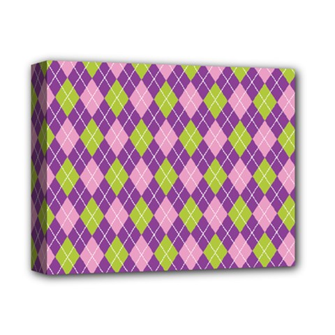 Plaid Triangle Line Wave Chevron Green Purple Grey Beauty Argyle Deluxe Canvas 14  X 11  by Alisyart