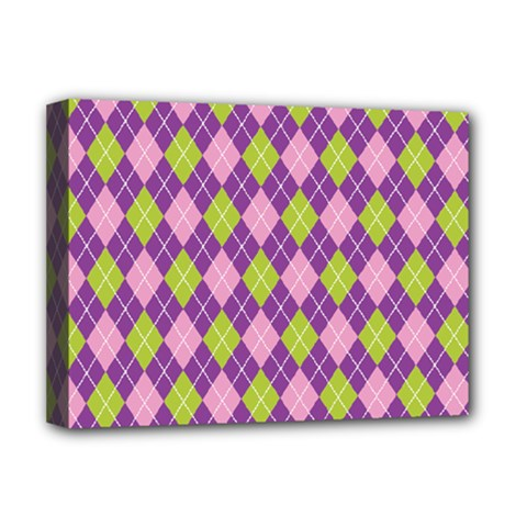 Plaid Triangle Line Wave Chevron Green Purple Grey Beauty Argyle Deluxe Canvas 16  X 12