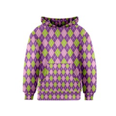 Plaid Triangle Line Wave Chevron Green Purple Grey Beauty Argyle Kids  Pullover Hoodie by Alisyart