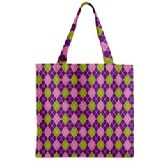 Plaid Triangle Line Wave Chevron Green Purple Grey Beauty Argyle Zipper Grocery Tote Bag by Alisyart
