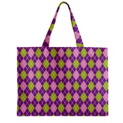 Plaid Triangle Line Wave Chevron Green Purple Grey Beauty Argyle Zipper Mini Tote Bag by Alisyart