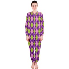 Plaid Triangle Line Wave Chevron Green Purple Grey Beauty Argyle Onepiece Jumpsuit (ladies)  by Alisyart