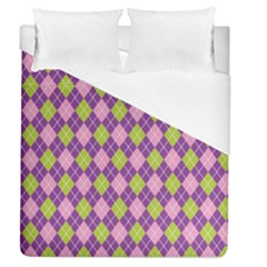 Plaid Triangle Line Wave Chevron Green Purple Grey Beauty Argyle Duvet Cover (queen Size)