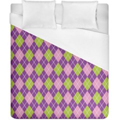 Plaid Triangle Line Wave Chevron Green Purple Grey Beauty Argyle Duvet Cover (california King Size)