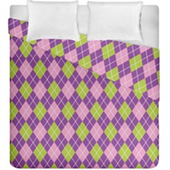 Plaid Triangle Line Wave Chevron Green Purple Grey Beauty Argyle Duvet Cover Double Side (king Size) by Alisyart