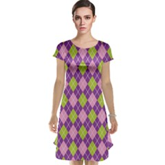 Plaid Triangle Line Wave Chevron Green Purple Grey Beauty Argyle Cap Sleeve Nightdress
