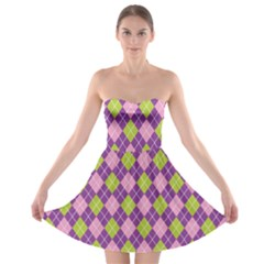 Plaid Triangle Line Wave Chevron Green Purple Grey Beauty Argyle Strapless Bra Top Dress