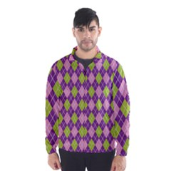 Plaid Triangle Line Wave Chevron Green Purple Grey Beauty Argyle Wind Breaker (men)