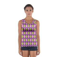 Plaid Triangle Line Wave Chevron Green Purple Grey Beauty Argyle Women s Sport Tank Top  by Alisyart