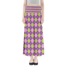Plaid Triangle Line Wave Chevron Green Purple Grey Beauty Argyle Maxi Skirts by Alisyart