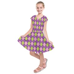 Plaid Triangle Line Wave Chevron Green Purple Grey Beauty Argyle Kids  Short Sleeve Dress