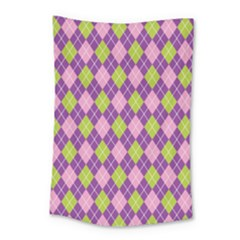 Plaid Triangle Line Wave Chevron Green Purple Grey Beauty Argyle Small Tapestry