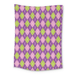 Plaid Triangle Line Wave Chevron Green Purple Grey Beauty Argyle Medium Tapestry