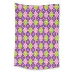 Plaid Triangle Line Wave Chevron Green Purple Grey Beauty Argyle Large Tapestry by Alisyart