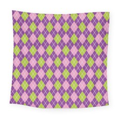 Plaid Triangle Line Wave Chevron Green Purple Grey Beauty Argyle Square Tapestry (large)