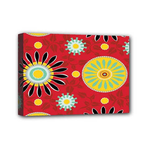 Sunflower Floral Red Yellow Black Circle Mini Canvas 7  X 5