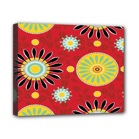 Sunflower Floral Red Yellow Black Circle Canvas 10  X 8