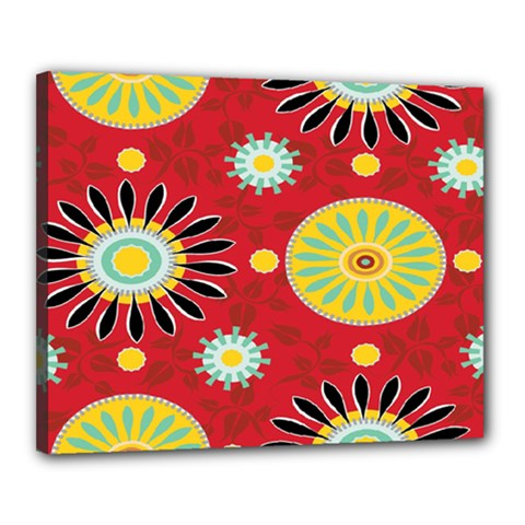 Sunflower Floral Red Yellow Black Circle Canvas 20  X 16