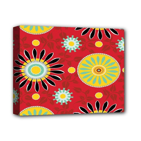 Sunflower Floral Red Yellow Black Circle Deluxe Canvas 14  X 11