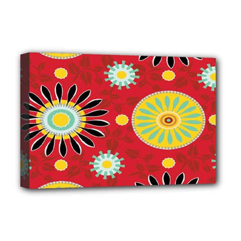 Sunflower Floral Red Yellow Black Circle Deluxe Canvas 18  X 12