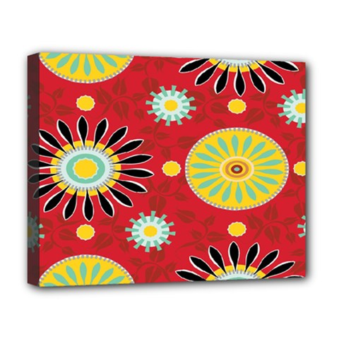 Sunflower Floral Red Yellow Black Circle Deluxe Canvas 20  X 16