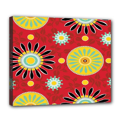 Sunflower Floral Red Yellow Black Circle Deluxe Canvas 24  X 20