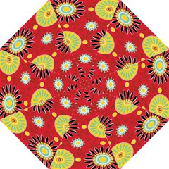 Sunflower Floral Red Yellow Black Circle Hook Handle Umbrellas (large) by Alisyart
