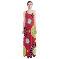 Sunflower Floral Red Yellow Black Circle Sleeveless Maxi Dress by Alisyart