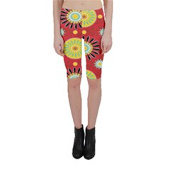 Sunflower Floral Red Yellow Black Circle Cropped Leggings