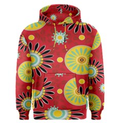 Sunflower Floral Red Yellow Black Circle Men s Pullover Hoodie
