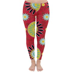 Sunflower Floral Red Yellow Black Circle Classic Winter Leggings