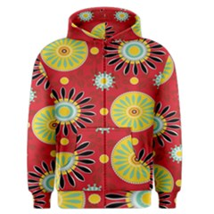 Sunflower Floral Red Yellow Black Circle Men s Zipper Hoodie