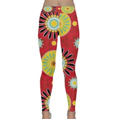 Sunflower Floral Red Yellow Black Circle Classic Yoga Leggings