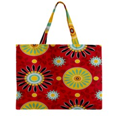 Sunflower Floral Red Yellow Black Circle Zipper Mini Tote Bag