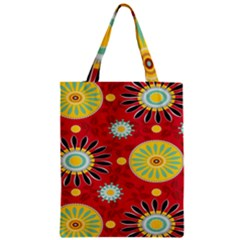 Sunflower Floral Red Yellow Black Circle Zipper Classic Tote Bag