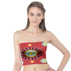 Sunflower Floral Red Yellow Black Circle Tube Top