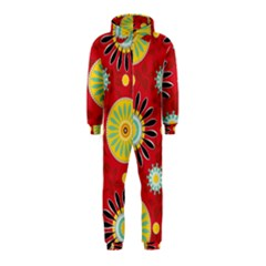 Sunflower Floral Red Yellow Black Circle Hooded Jumpsuit (kids)