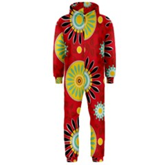Sunflower Floral Red Yellow Black Circle Hooded Jumpsuit (men)