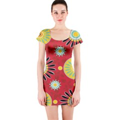 Sunflower Floral Red Yellow Black Circle Short Sleeve Bodycon Dress