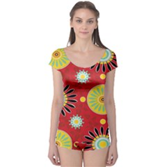 Sunflower Floral Red Yellow Black Circle Boyleg Leotard