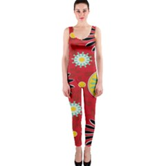 Sunflower Floral Red Yellow Black Circle Onepiece Catsuit