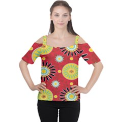 Sunflower Floral Red Yellow Black Circle Women s Cutout Shoulder Tee by Alisyart