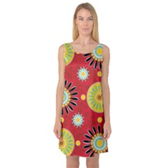 Sunflower Floral Red Yellow Black Circle Sleeveless Satin Nightdress by Alisyart