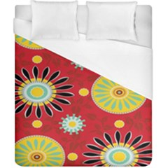 Sunflower Floral Red Yellow Black Circle Duvet Cover (california King Size)