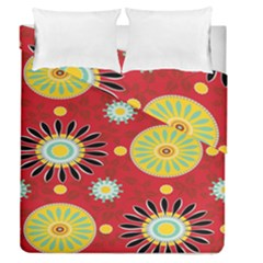 Sunflower Floral Red Yellow Black Circle Duvet Cover Double Side (queen Size)