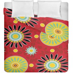 Sunflower Floral Red Yellow Black Circle Duvet Cover Double Side (king Size)